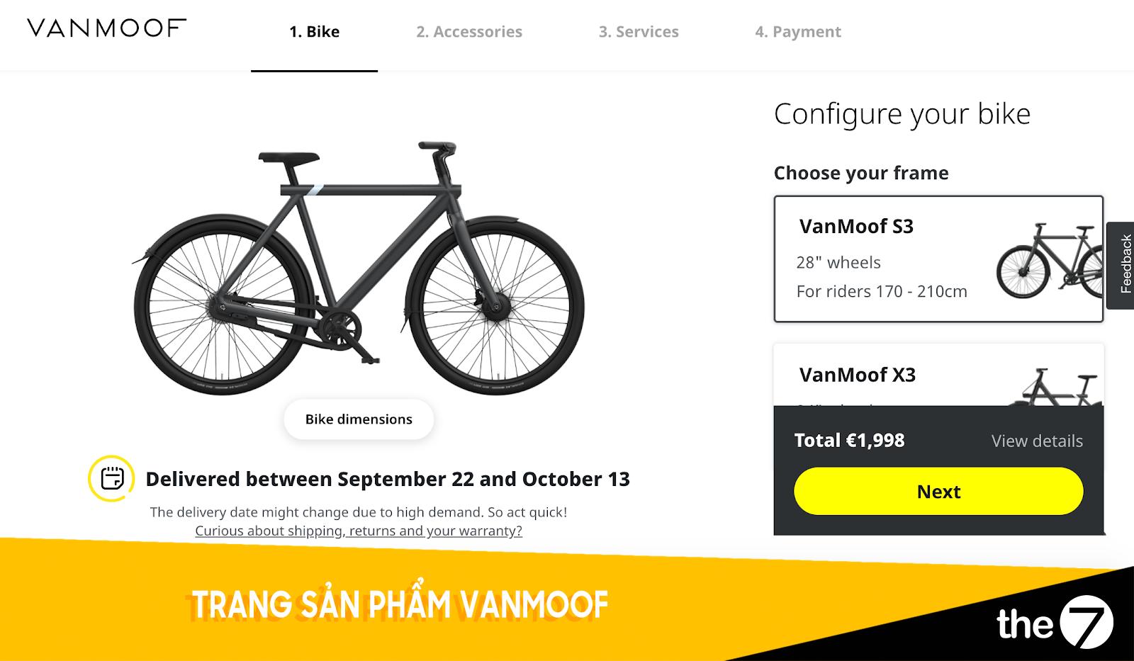 Thiết kế website bán hàng - Trang bán hàng Vanmoof