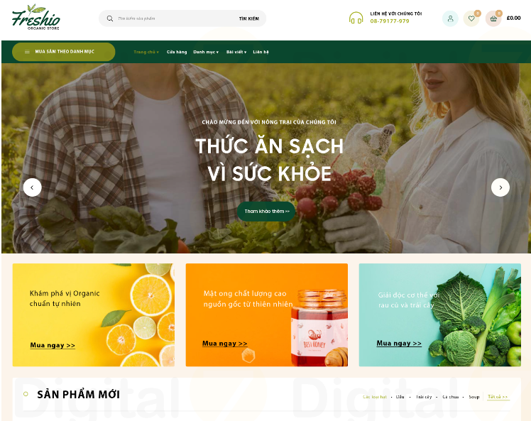 Freshio Theme website cho doanh nghiệp